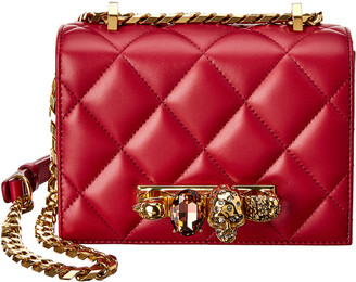 Alexander McQueen Jeweled Small Quilted Leather Shoulder Bag