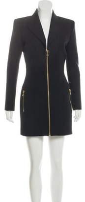 Balmain Structured Wool Dress Black Structured Wool Dress