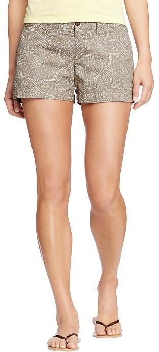 """Old Navy Women's Printed Cuffed-Twill Shorts (3-1/2"""")"""