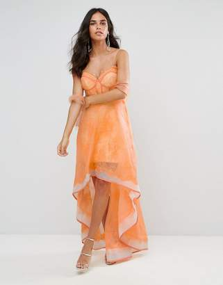 Forever Unique Structured Lace Hi Lo Dress