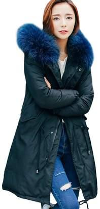 Partiss Women Fur Hooded Down coat Long Warm Padded Parka Outwear Jacket,L
