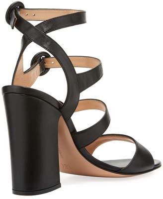 Gianvito Rossi Mali Leather Multi-Strap Block-Heel Sandal