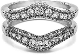 Charles & Colvard TwoBirch Vintage Style Filigree and Milgraining Contour Ring Guard with 0.66 carats of Forever Brilliant Moissanite by Charles Colvard in Sterling Silver