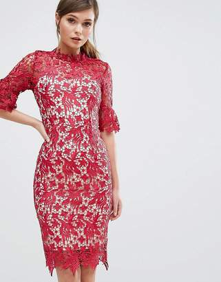 Paper Dolls Scallop Lace Pencil Dress With Fluted Sleeve