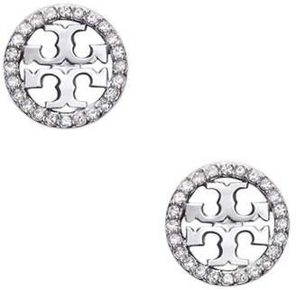 Tory Burch Crystal Circle Logo Stud Earrings