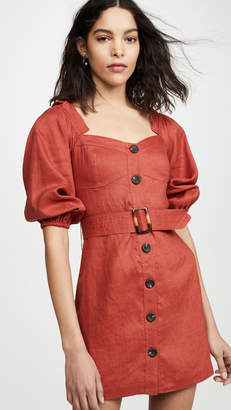 SUBOO Rising Sun Button Front Mini Dress