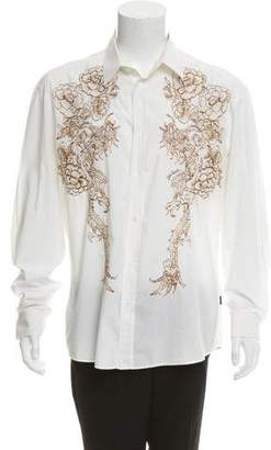 Just Cavalli Embroidered Flower Button-Up Shirt