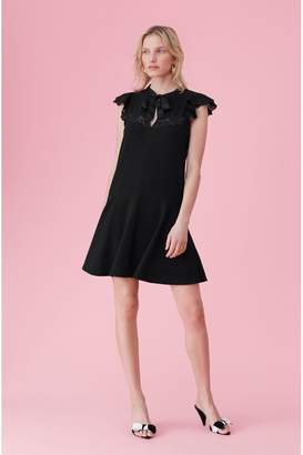 Rebecca Taylor Crepe Lace Tie Neck Dress