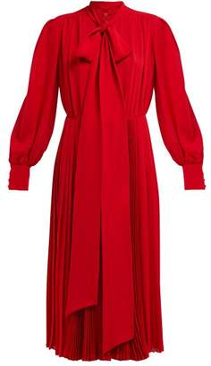 Valentino Pleated Silk Crepe Midi Dress - Womens - Red