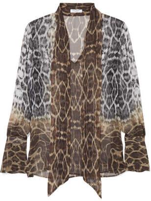 Equipment Jacqueleen Pussy-bow Leopard-print Silk-georgette Blouse - Leopard print