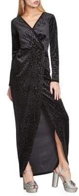 Miss Selfridge Leopard Long Sleeve Faux-Wrap Maxi Dress
