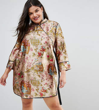 Asos Chinoiserie Mini Wrap Dress with Tipping