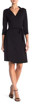 24\u002F7 Comfort Collared V-Neck 3\u002F4 Sleeve Wrap Dress (Plus Size Available)