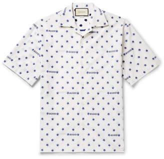 Gucci Camp-Collar Fil Coupe Cotton-Poplin Shirt