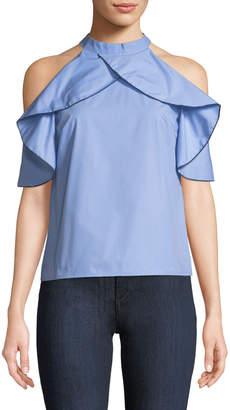 Madisonne Ruffled Halter-Neck Cold-Shoulder Blouse