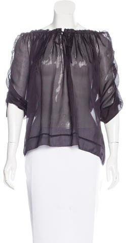 Marc by Marc Jacobs Short Sleeve Silk Blouse
