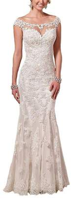 Firose Satin Sheath Illusion Neckline Wedding Dresses Lace Mermaid