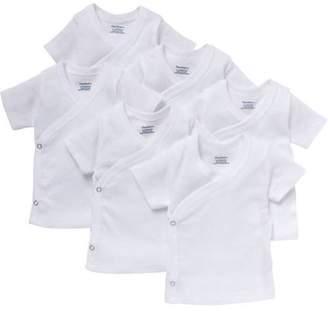 Gerber Newborn Baby White Short Sleeve Side Snap Shirt, 6-Pack