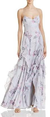 Fame & Partners Nav Floral Gown