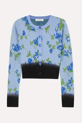 Altuzarra Zannone Cropped Floral-intarsia Wool Cardigan - Blue