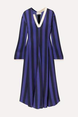 Wales Bonner Striped Crepe Midi Dress - Purple