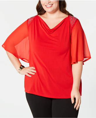 Belldini Plus Size Embellished Flutter-Sleeve Top