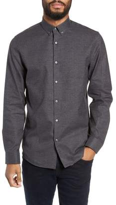 Calibrate Slim Fit Mini Collar Melange Sport Shirt