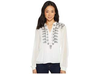Roper 1318 Solid Georgette Blouse Women's Long Sleeve Pullover