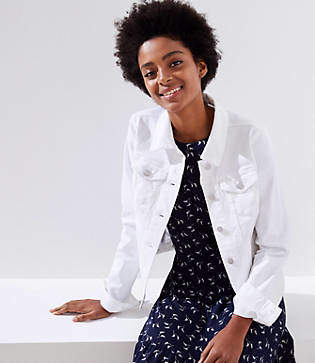 LOFT Petite Distressed Denim Jacket