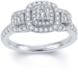 MODERN BRIDE Modern Bride Signature 1 CT. T.W. Diamond 14K White Gold 3-Stone Princess-Cut Ring