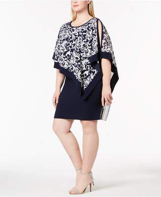 R & M Richards Plus Size Printed Capelet Dress