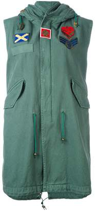 Mr & Mrs Italy patched sleeveless mid parka
