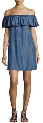 Tommy Bahama Cotton Chambray Off-the-Shoulder Coverup Dress, Blue $94 thestylecure.com