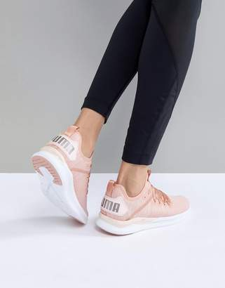Puma Ignite Flash Evoknit Satin Sneakers In Dusky Pink