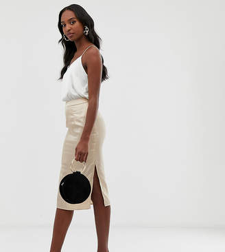 Missguided Petite Tall satin midi skirt with side split in beige