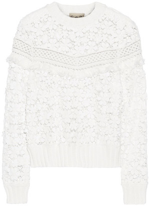 SEA - Fringe-trimmed Guipure Lace Top - Off-white $395 thestylecure.com