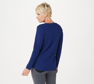 Denim & Co. Essentials Long Sleeve Buttton Henley Waffle Knit Top