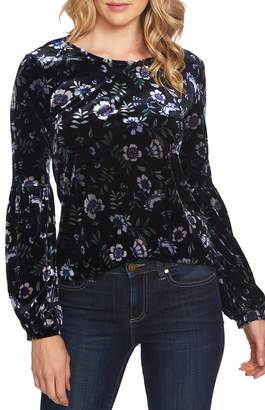 CeCe Bloomsbury Floral Puff Sleeve Stretch Velvet Blouse