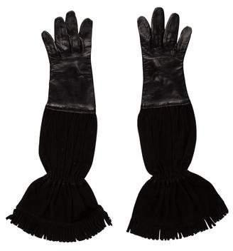 Hermes Leather Fringe Gloves