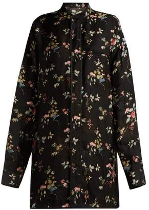 Haider Ackermann Floral Print Satin Shirt - Womens - Black Multi