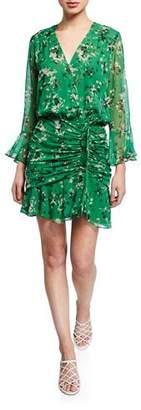 Veronica Beard Sean Floral-Print Ruched Flounce Dress