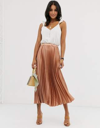 Asos Design DESIGN satin pleated column midi skirt