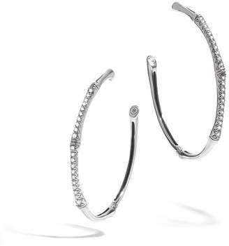 John Hardy Bamboo Silver Diamond Large Hoop Earrings
