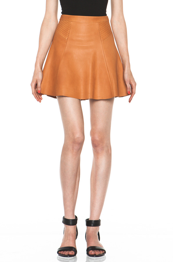A.L.C. Reese Leather Skirt in Caramel