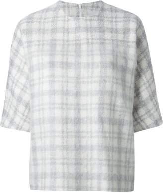 Lee J Js tartan pattern bell sleeve top