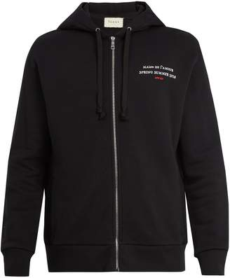 Gucci Invite-print hooded cotton sweatshirt