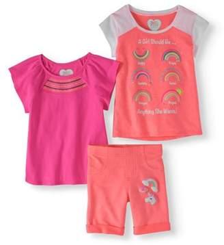 365 Kids From Garanimals Little Girls' 4-8 Raglan T-Shirt, Graphic T-Shirt, and Graphic Knit Bermuda Short 3-Piece Set