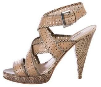 Oscar de la Renta Snakeskin Platform Sandals