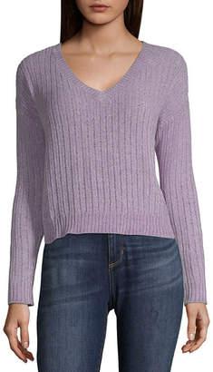 Arizona Womens Round Neck Long Sleeve Pullover Sweater-Juniors