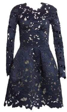 Oscar de la Renta Women's Lace A-Line Cocktail Dress - Navy - Size 6